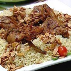 ارز مدخن مع شوي الدجاج