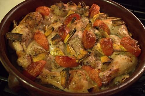 طبق طاجن دجاج بالخضار