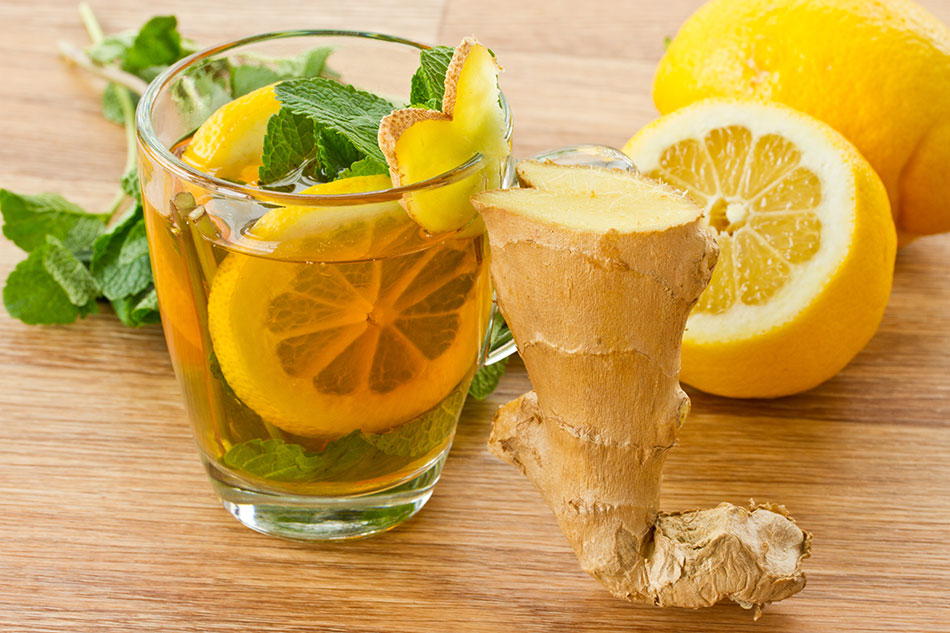 عصير الليمون مع الزنجبيل